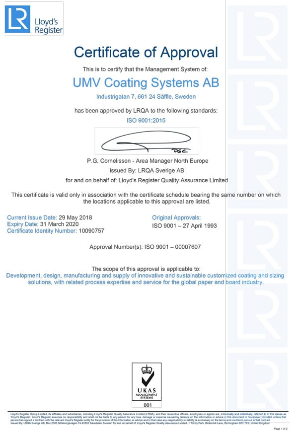 UMV certifikat iso 9001